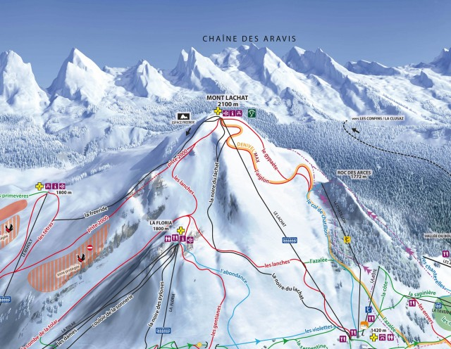 Pistes map of Le Grand-Bornand alpine ski area