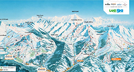Pistes map of Aravis mountains alpine ski area