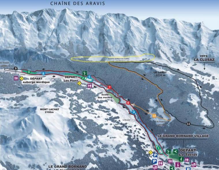 Plan des pistes du domaine skiable nordique