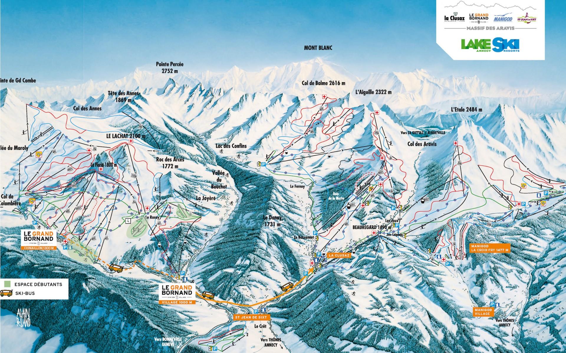 Plan des pistes du domaine skiable alpin du Massif des Aravis