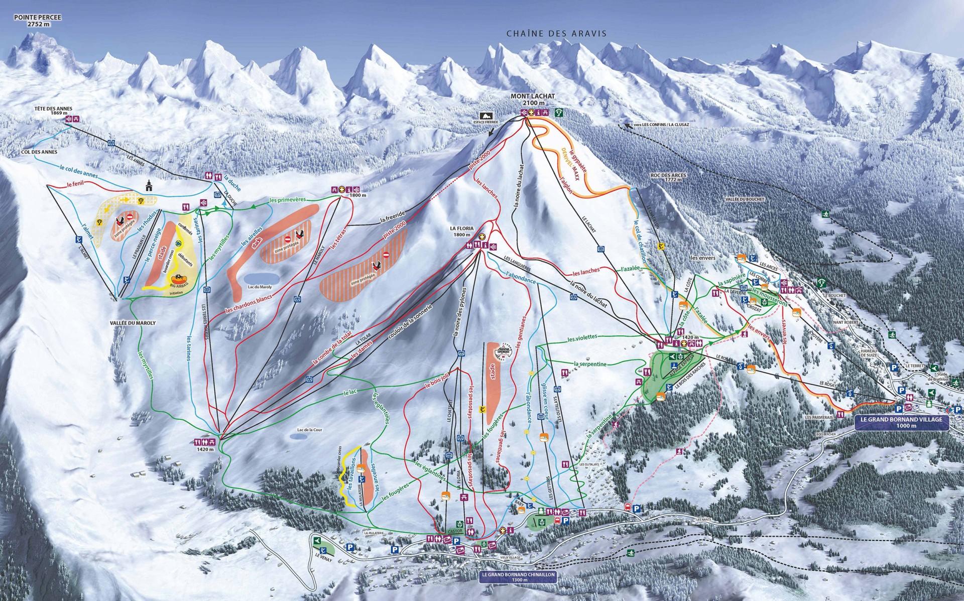 Plan des pistes du domaine skiable alpin Le Grand-Bornand