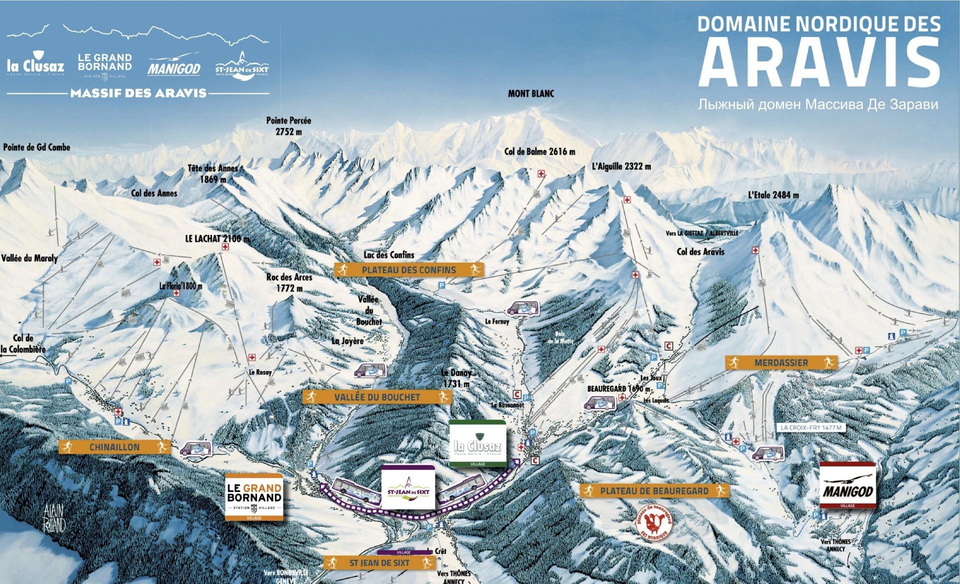 Plan des secteurs du domaine skiable nordique du Massif des Aravis