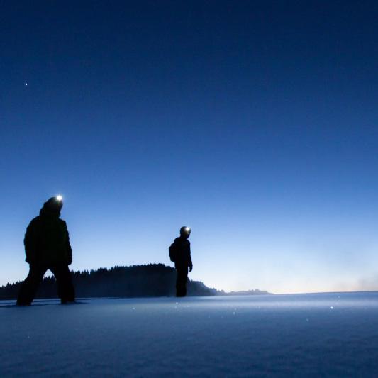 raquettes-randonnée-balade-nocturne-legrandbornand-neige - © Verpaelst