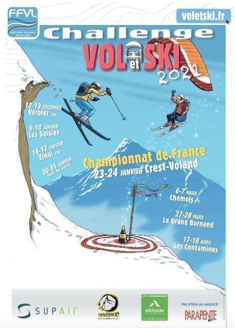 affiche challenge vol et ski